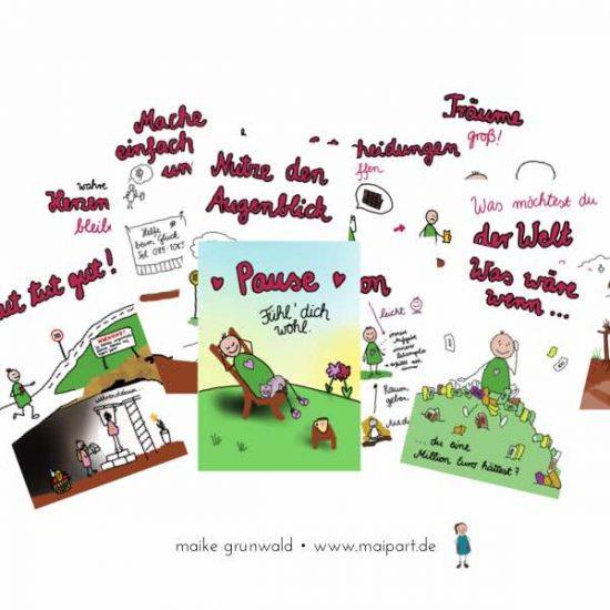 Postkarten mit Tipps, seine zu Träume leben. Von Maike Grunwald.