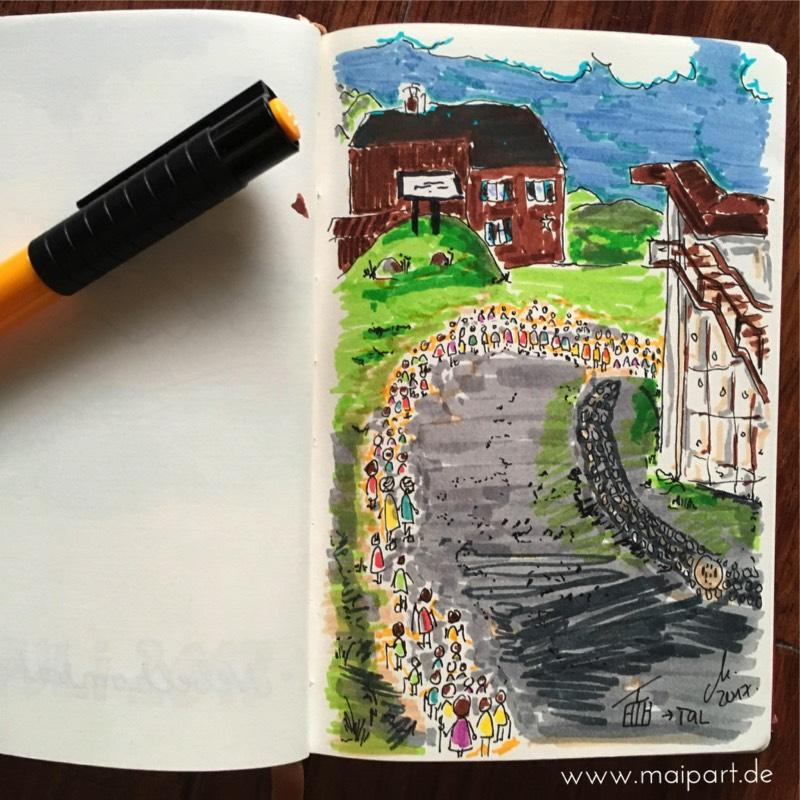 Zeichnen vor Ort: Wenn man warten muss…