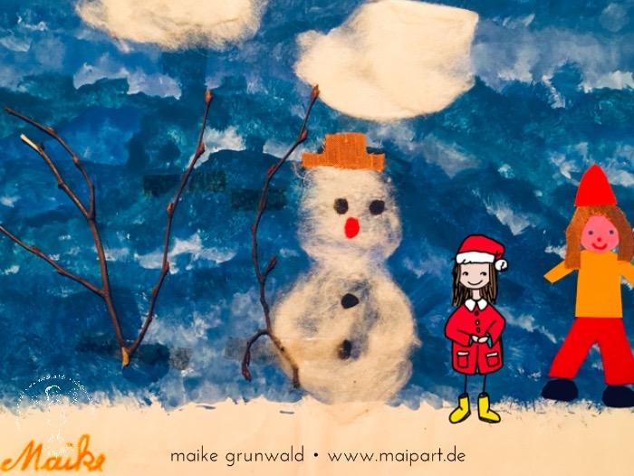Experimente mit Blautönen: Schneemann in Winterlandschaft